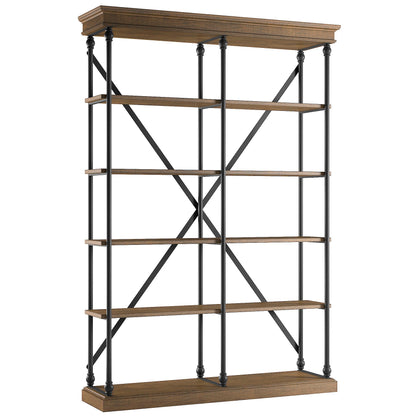 Cornice Double Shelving Bookcase - Brown Finish
