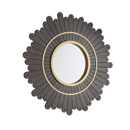 Round Dark Brown Sunburst Wall Mirror