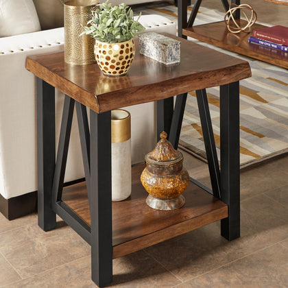 Wood and Metal Accent Tables - End table and coffee table Set