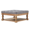 Baluster Pine Storage Tufted Cocktail Ottoman - Grey Linen - Dimpled Tufts