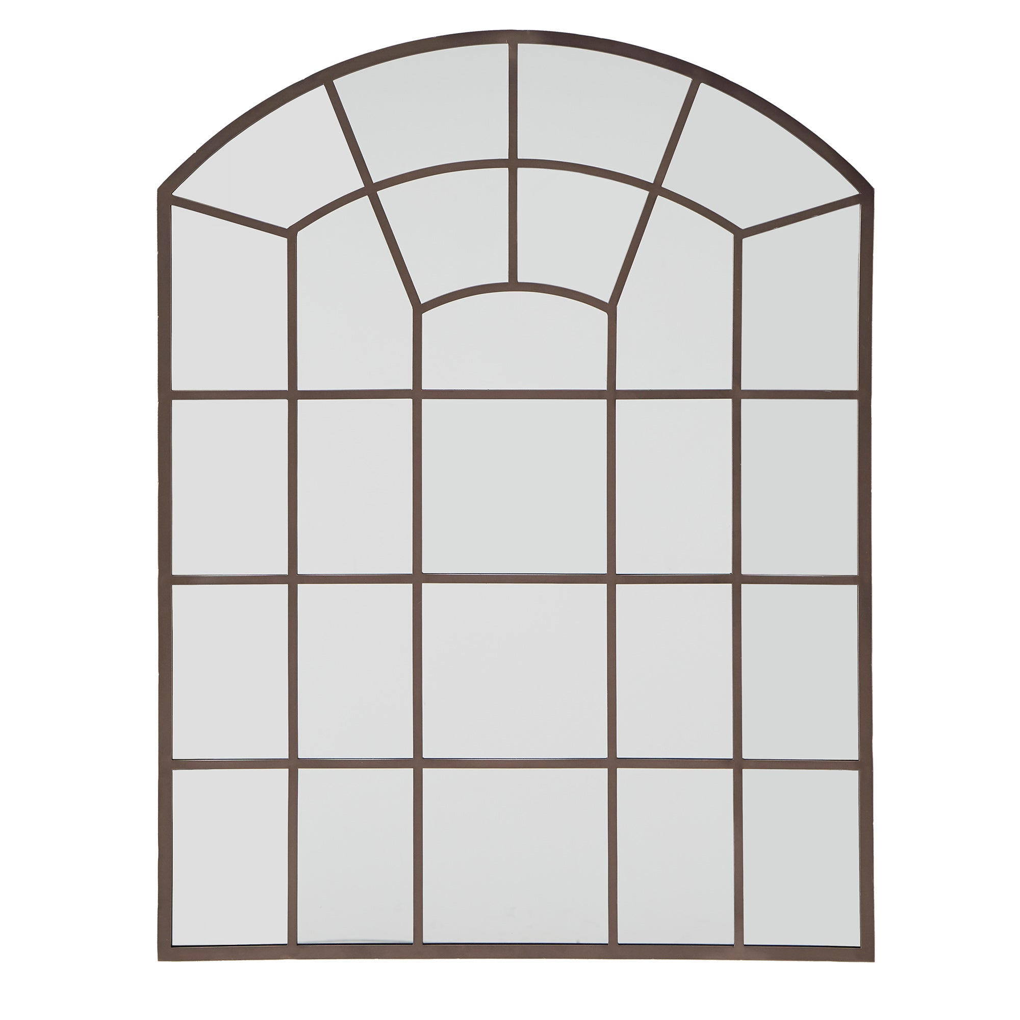 Metal Arched Windowpane Wall Mirror - Bronze Finish