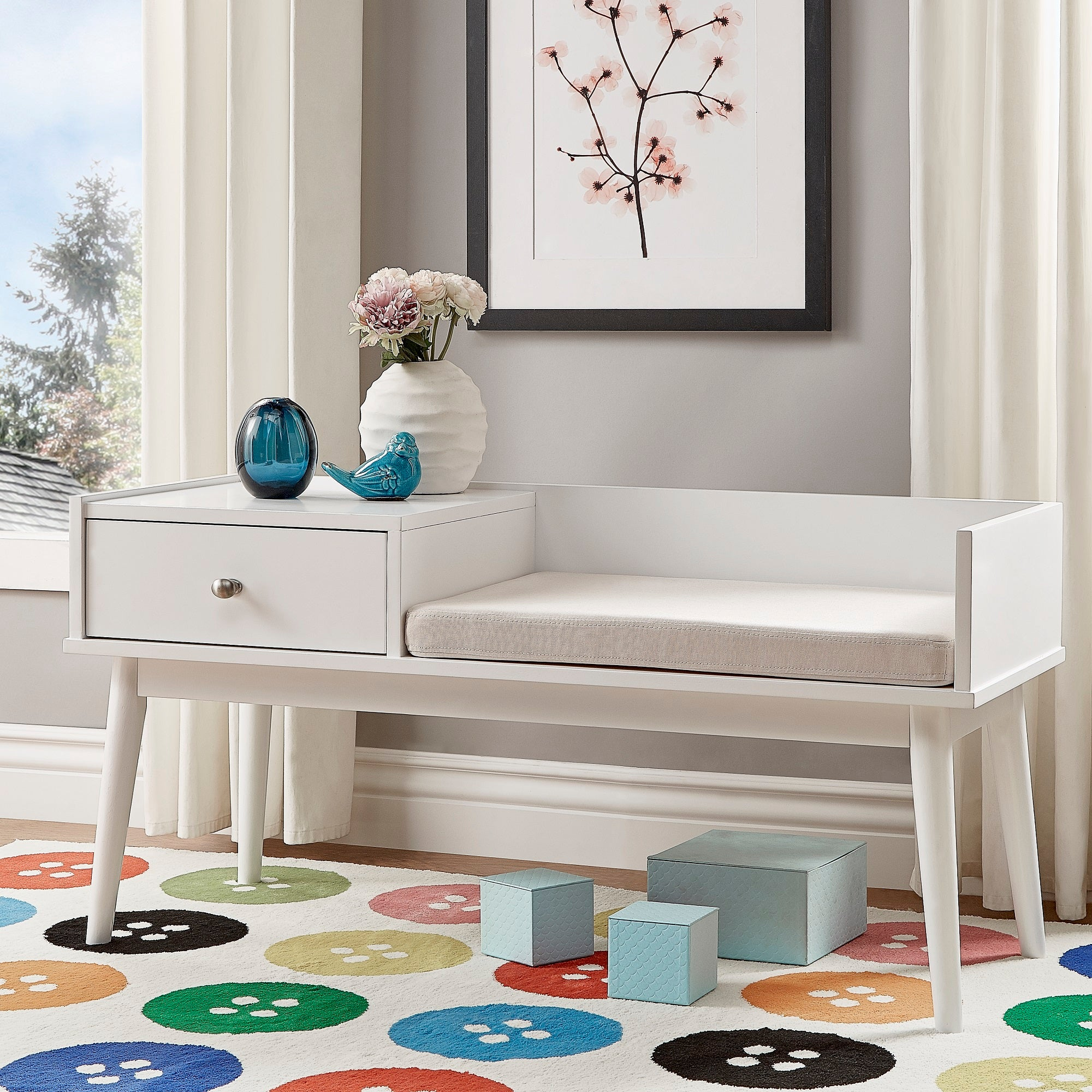 1-Drawer Cushioned Entryway Bench - White