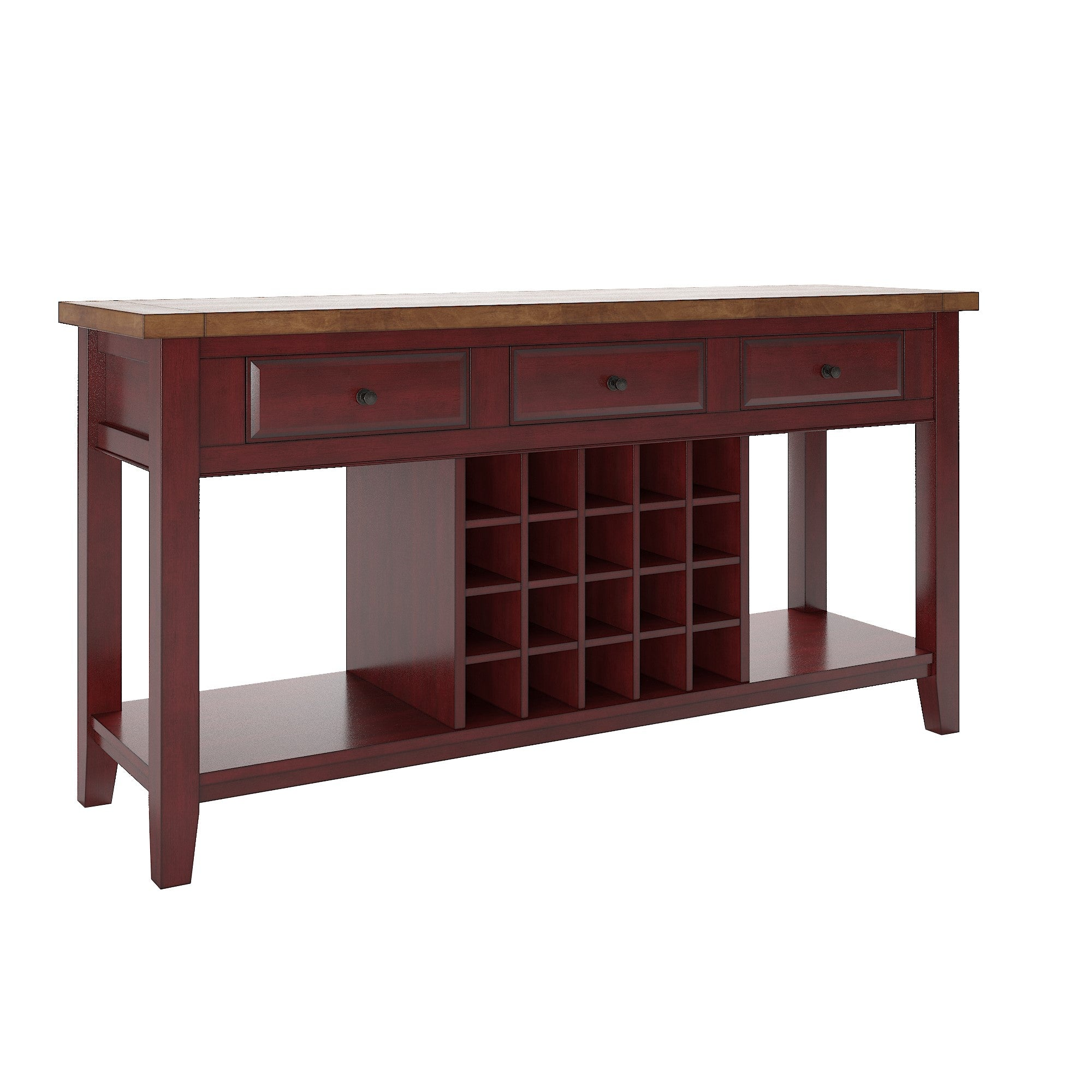 Two-Tone Wood Wine Rack Buffet Server - Oak Top With Antique Berry Red Base