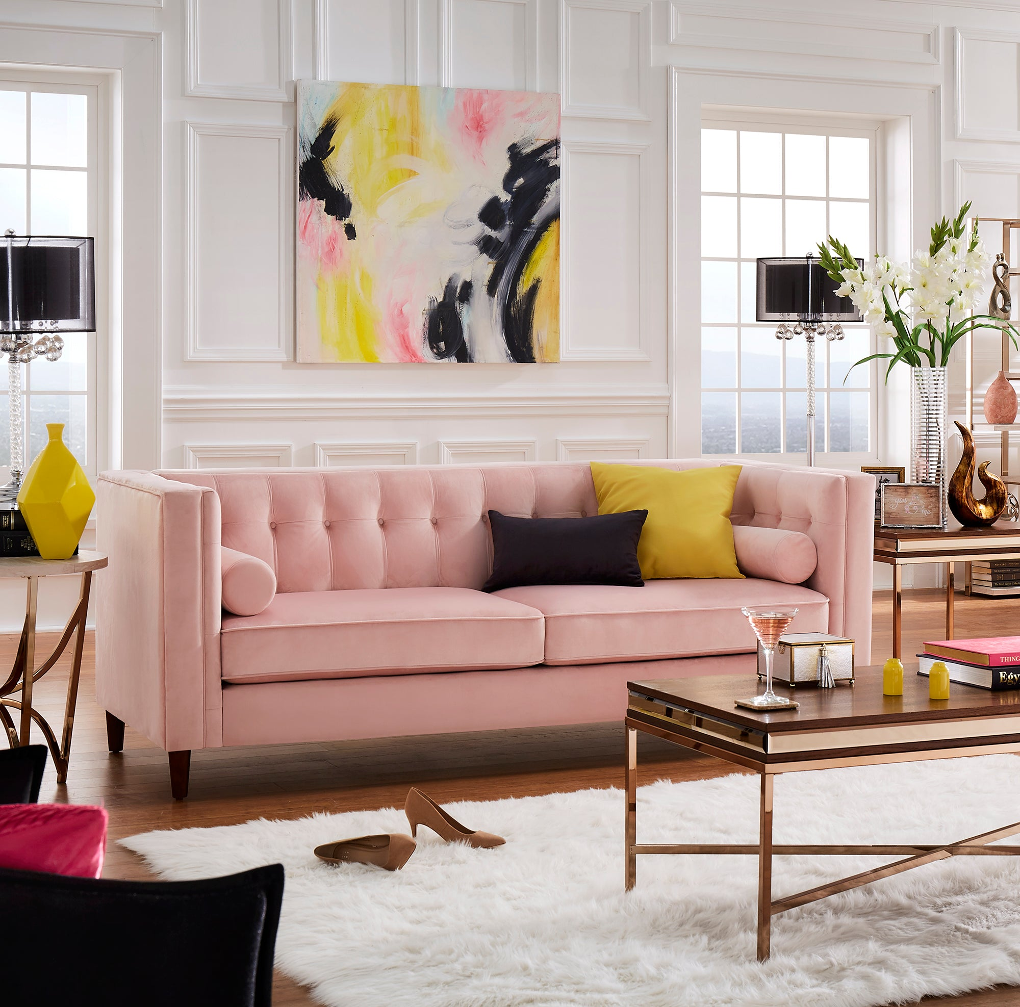 Pink Velvet Sofa with Accent Pillows