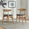 Mid-Century Tapered Dining Chairs (Set of 2) - Black Matte PVC, Natural Finish
