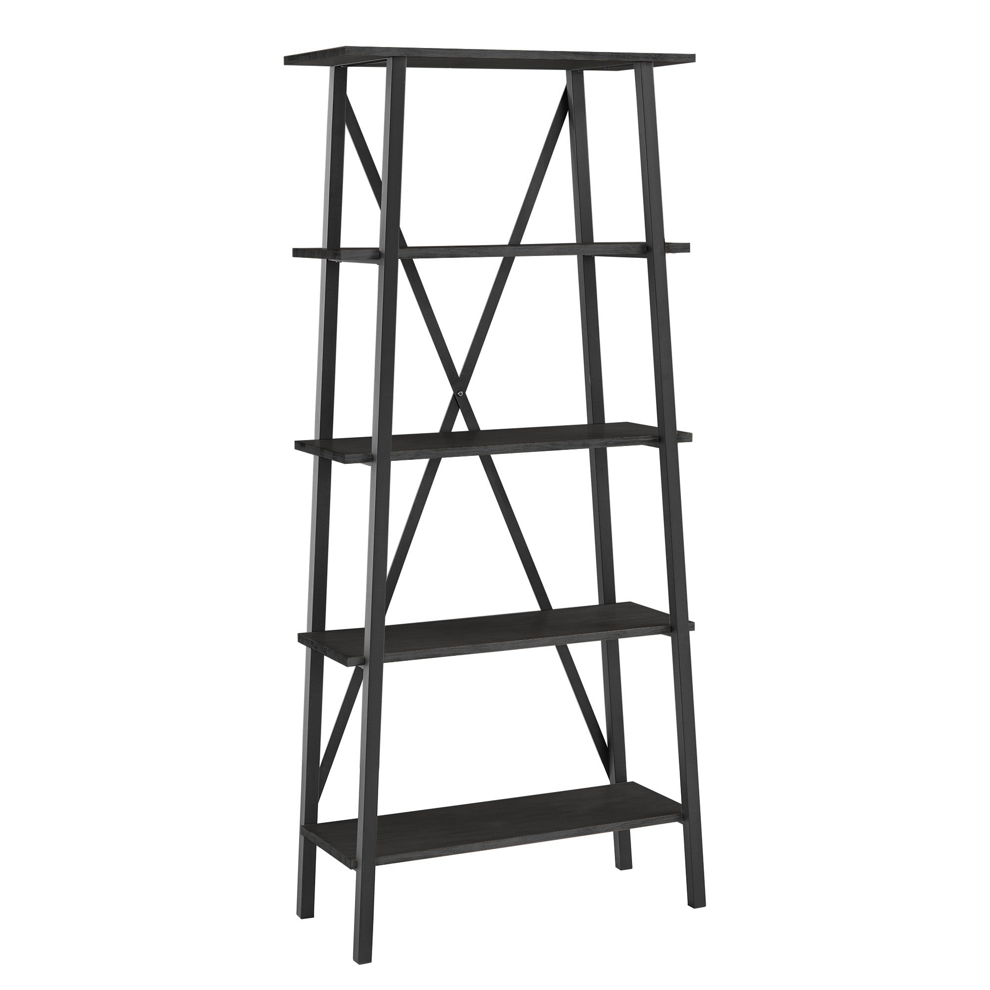 Rustic X-Base 32-inch Bookcase - Black Finish