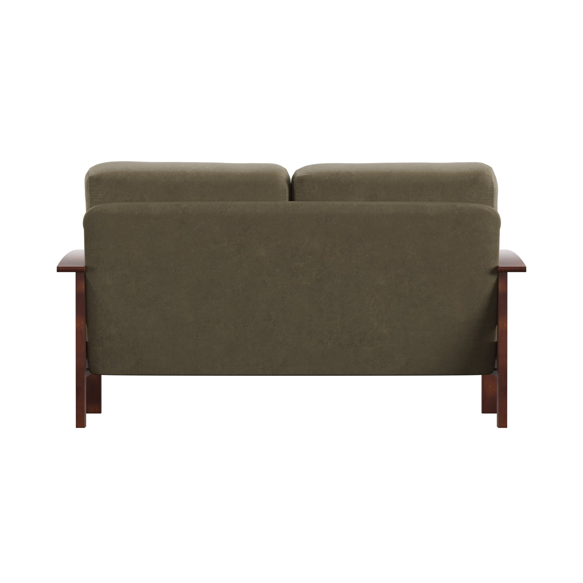 Mission-Style Wood Loveseat - Olive Microfiber, Oak Finish
