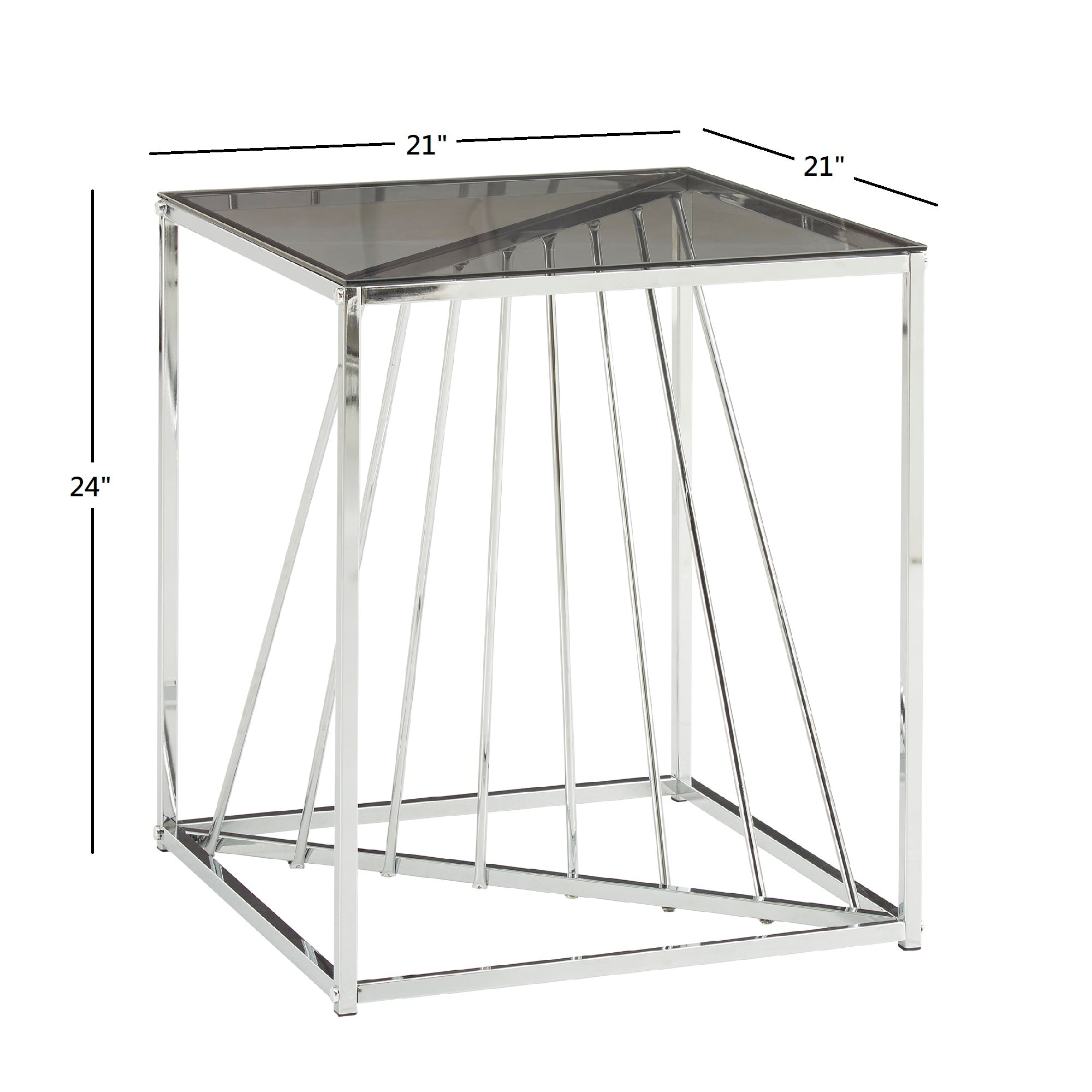 Square Metal and Glass Top End Table - Chrome Finish with Smoked Glass