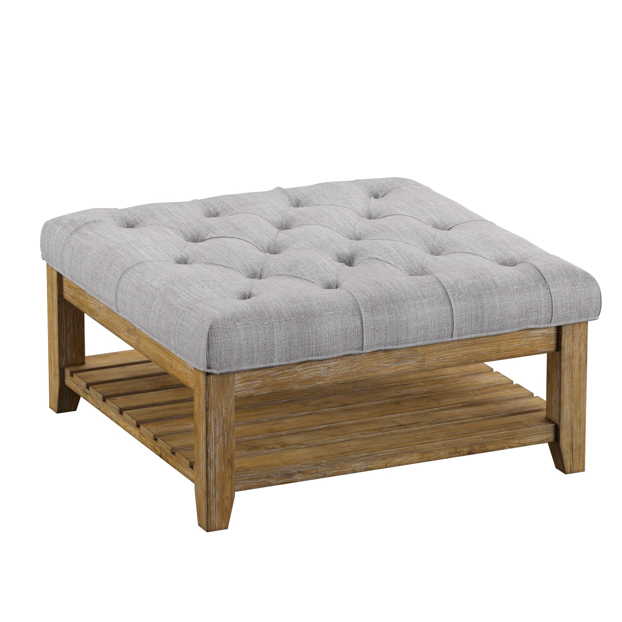 Pine Planked Storage Ottoman Coffee Table - Grey Linen Button Tufts