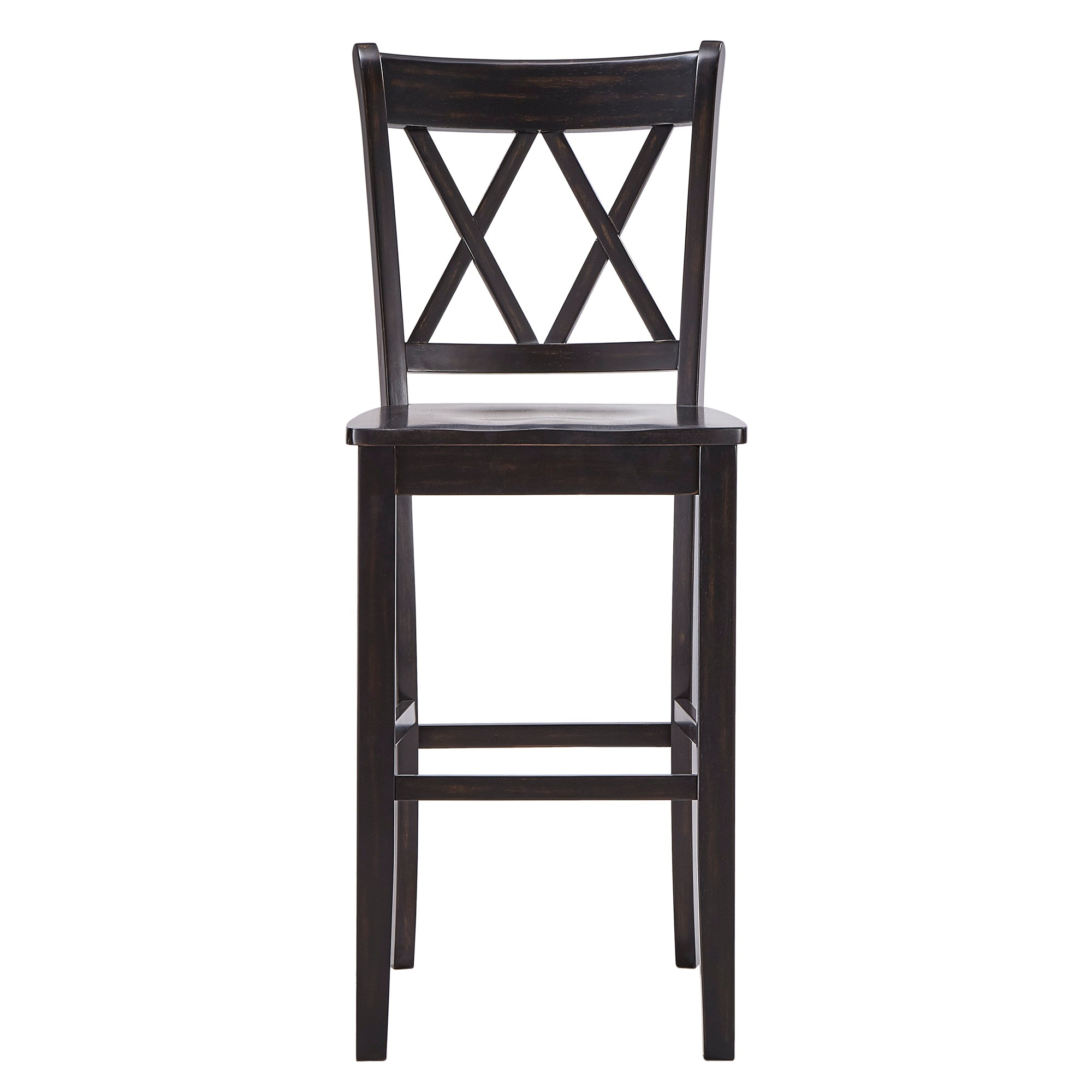 Double X Back Bar Height Chairs (Set of 2) - Antique Black Finish