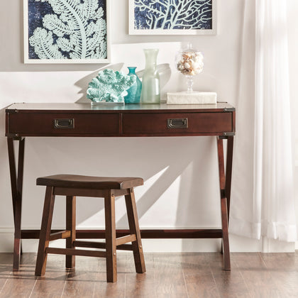 X-Base Wood Accent Campaign Writing Desk - Espresso