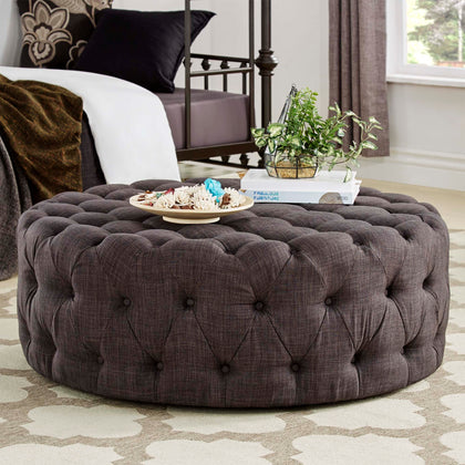 Round Tufted Cocktail Ottoman with Casters - Dark Grey Linen
