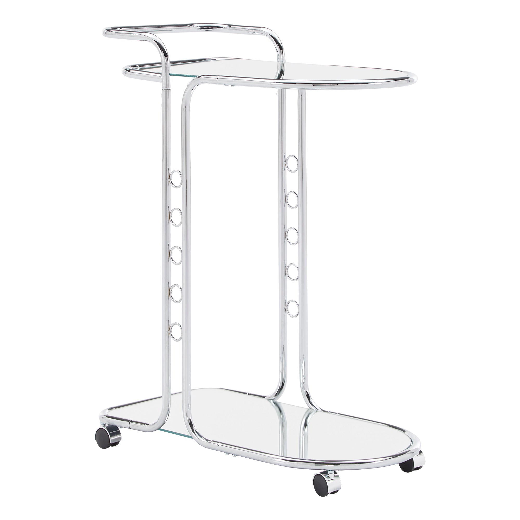 Chrome Finish Round Edge Bar Cart