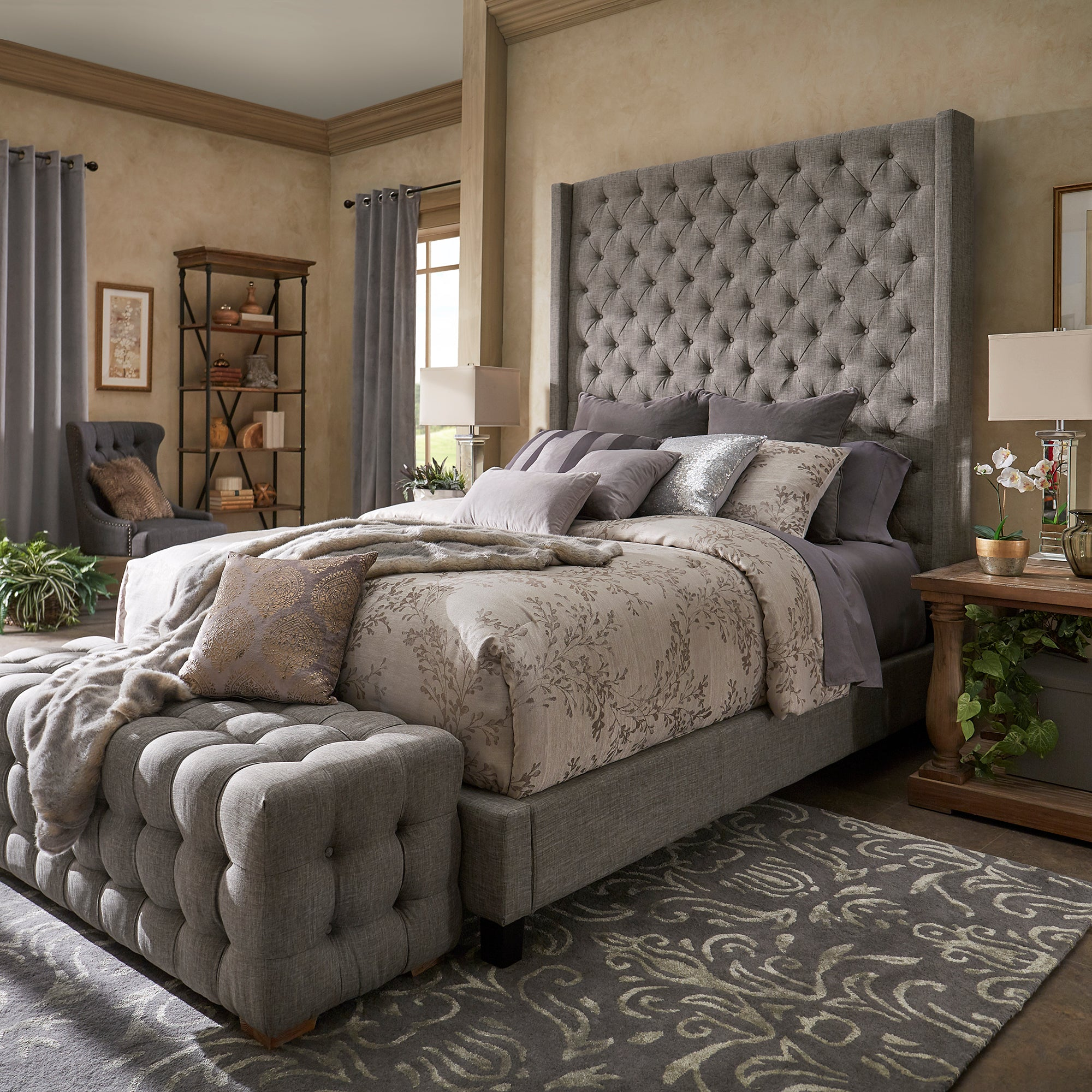 Wingback Button Tufted Tall Headboard Bed - Grey Linen, Queen