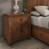 1-Drawer Wood Cupboard Nightstand with Charging Station - Oak