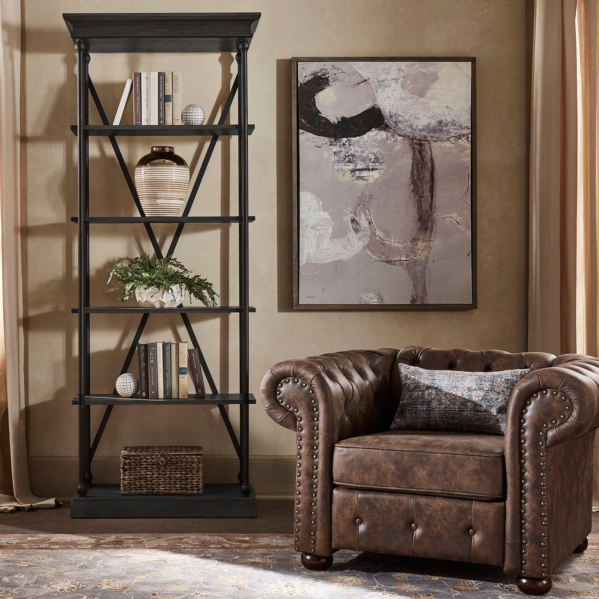 Cornice Wood and Iron Bookcase - Black Color Finish