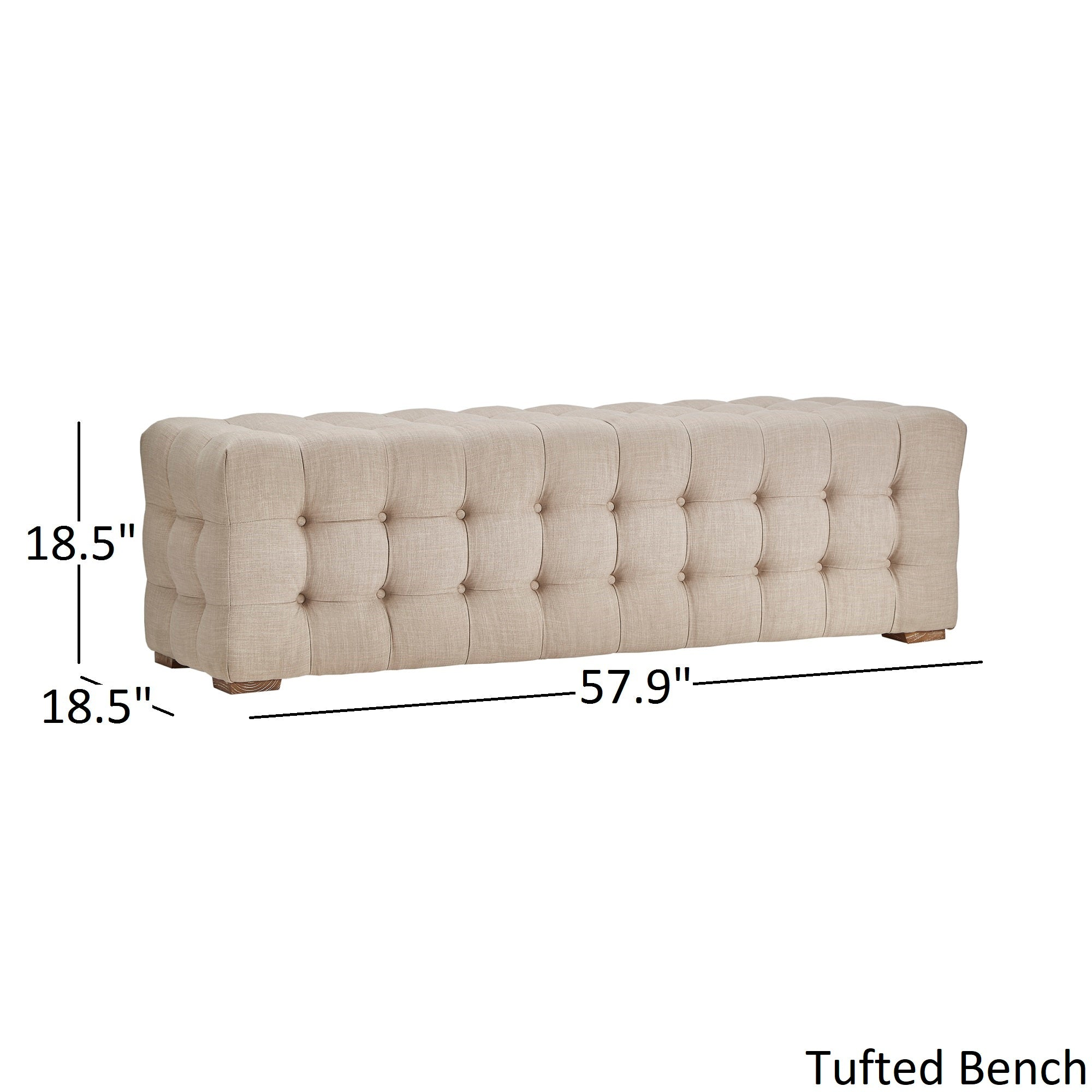 Linen Fabric Tufted Bench - Grey