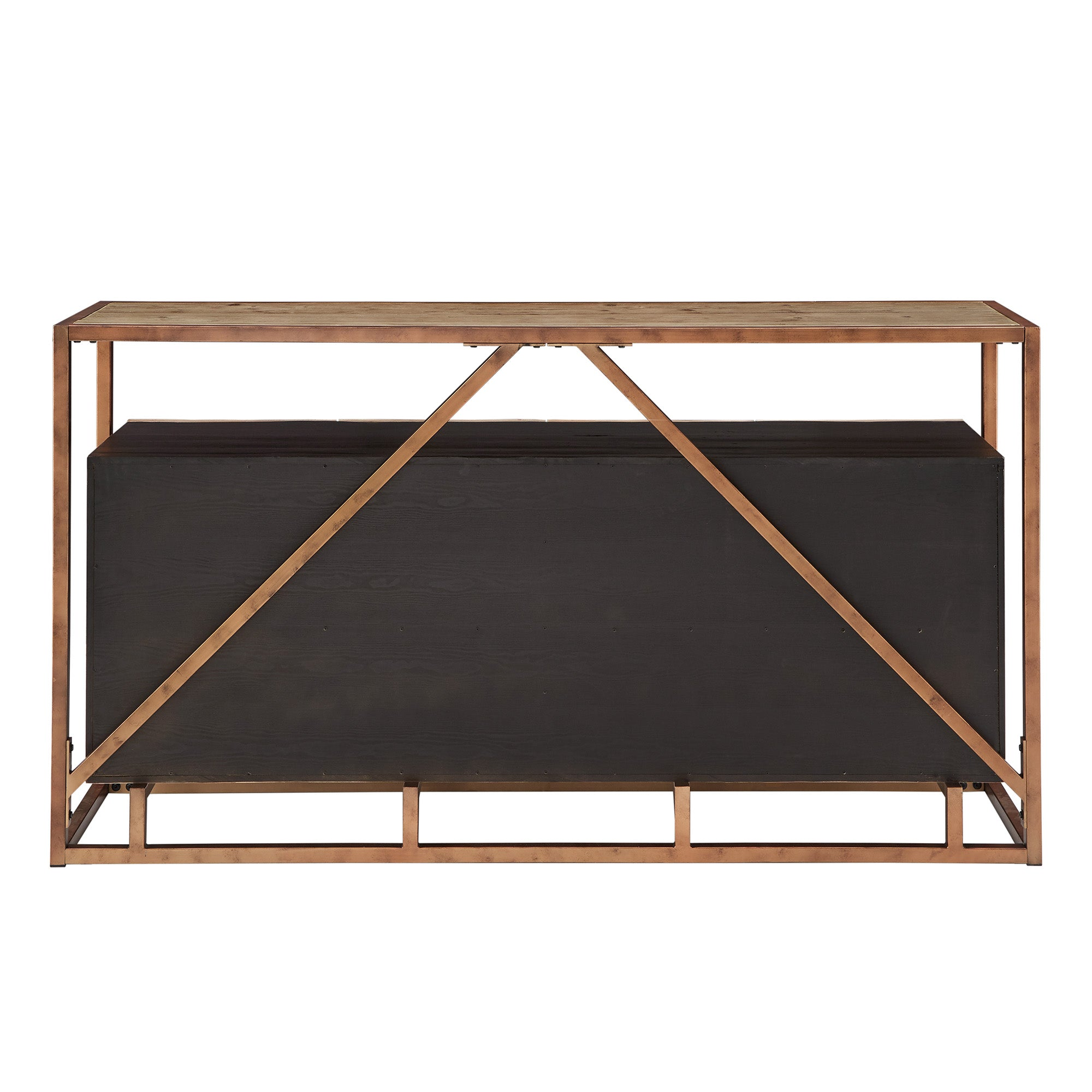 Copper Finish and Diamond Pattern Reclaimed Wood Buffet Server