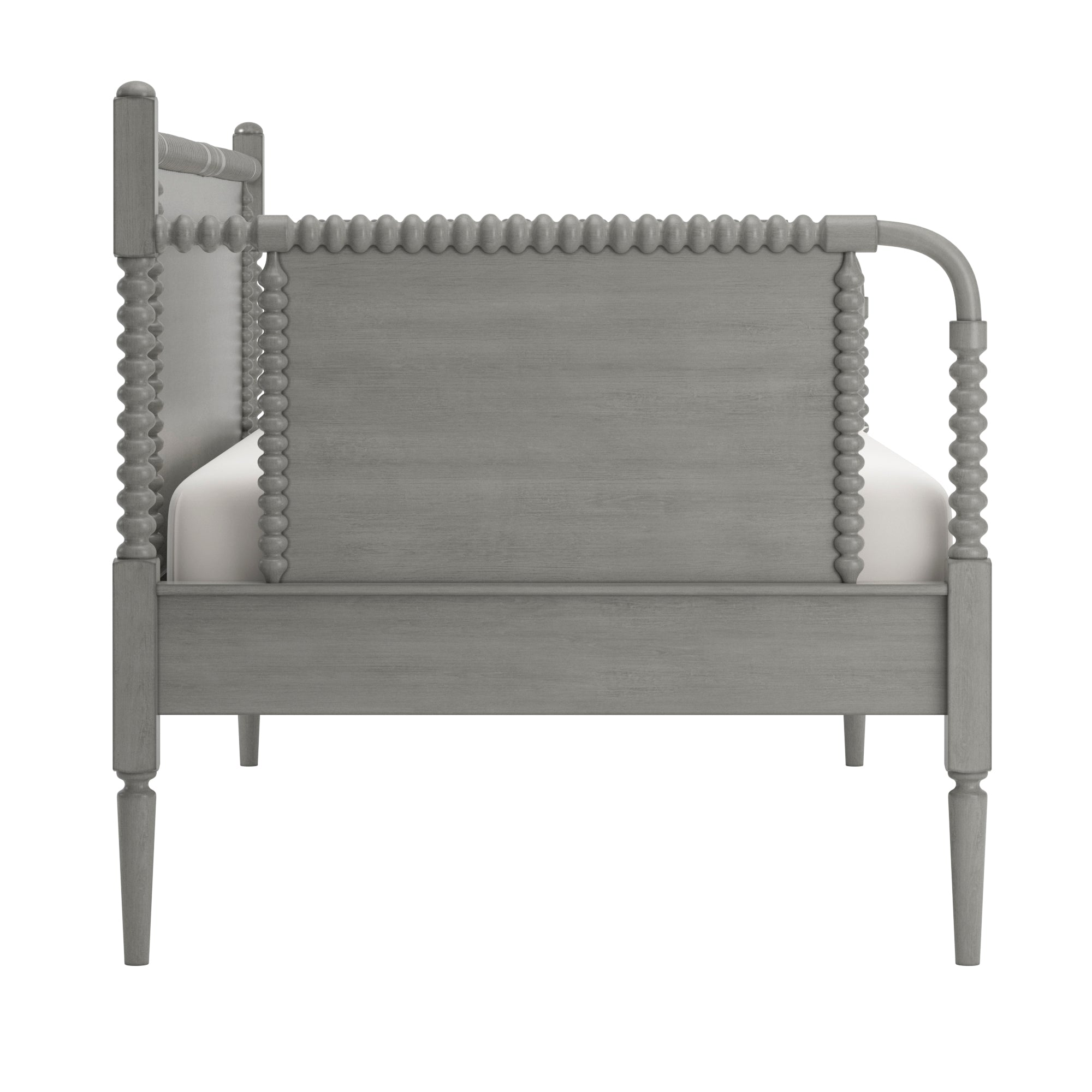 Traditional Beaded Wood Daybed - Antique Grey, No Trundle