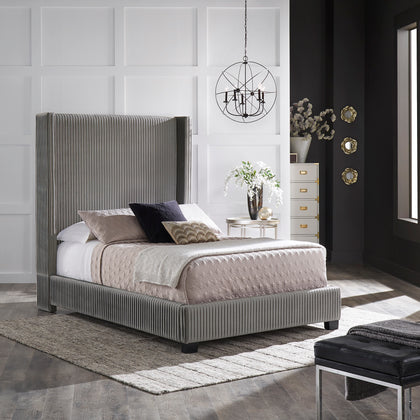 Pleated Velvet Wingback Bed - Grey - Full (Full Size)
