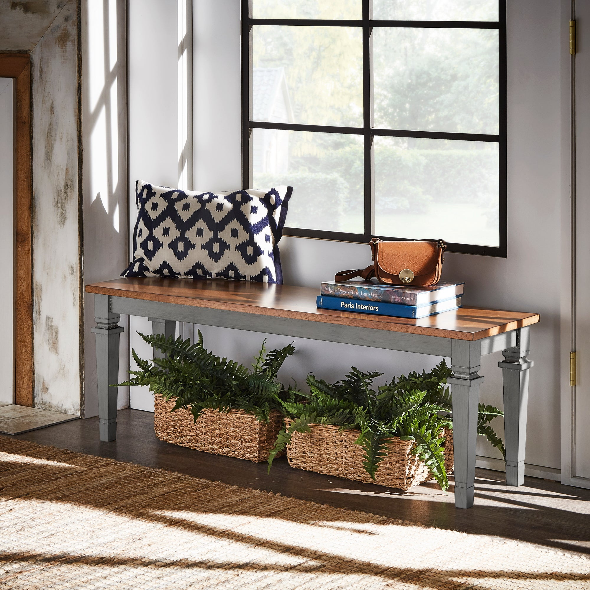 Solid Wood Dining Bench - Antique Grey