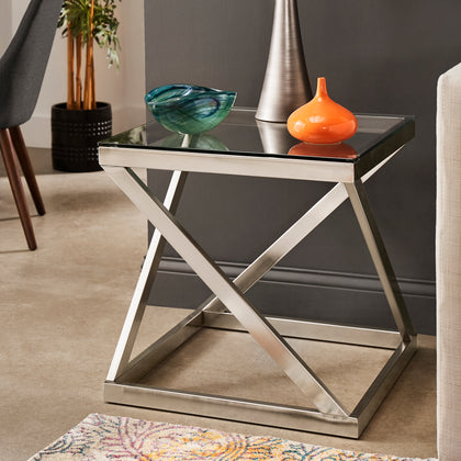 Brushed Nickel End Table