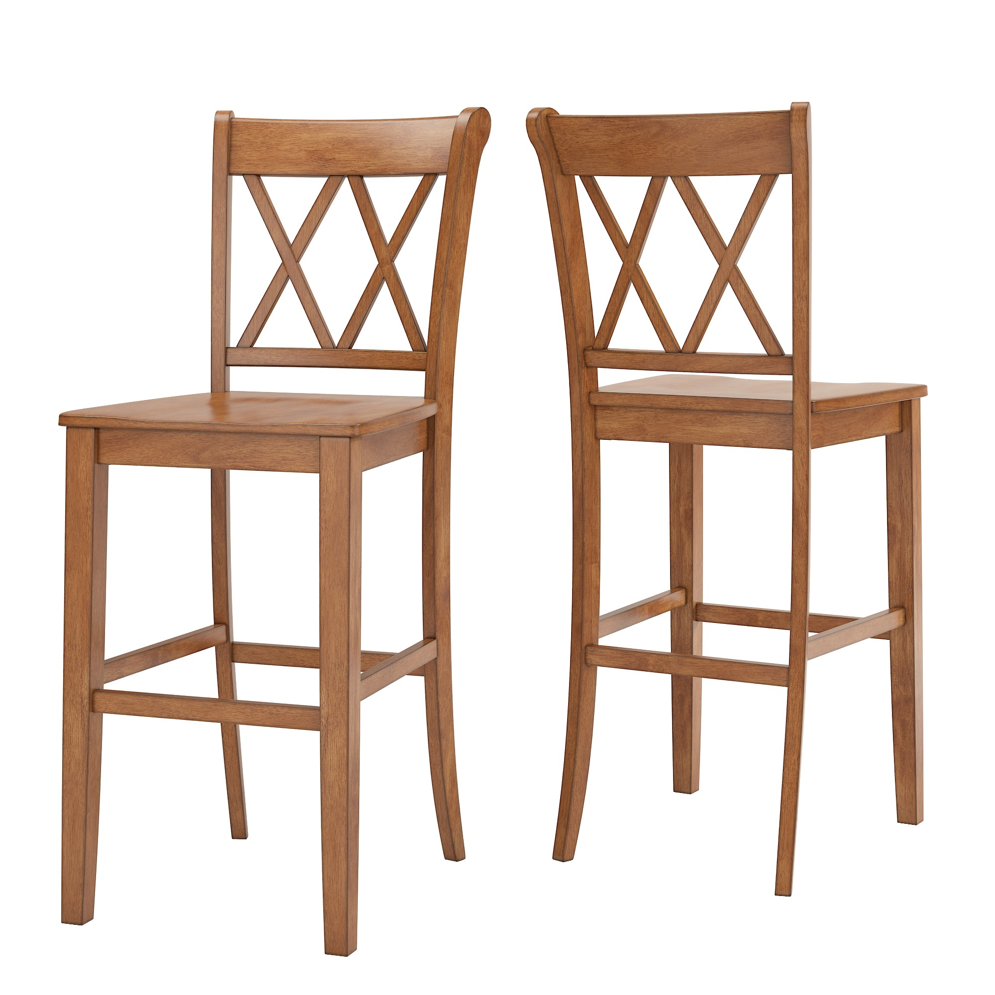 X Back Bar Height Chairs (Set of 2) - Oak Finish