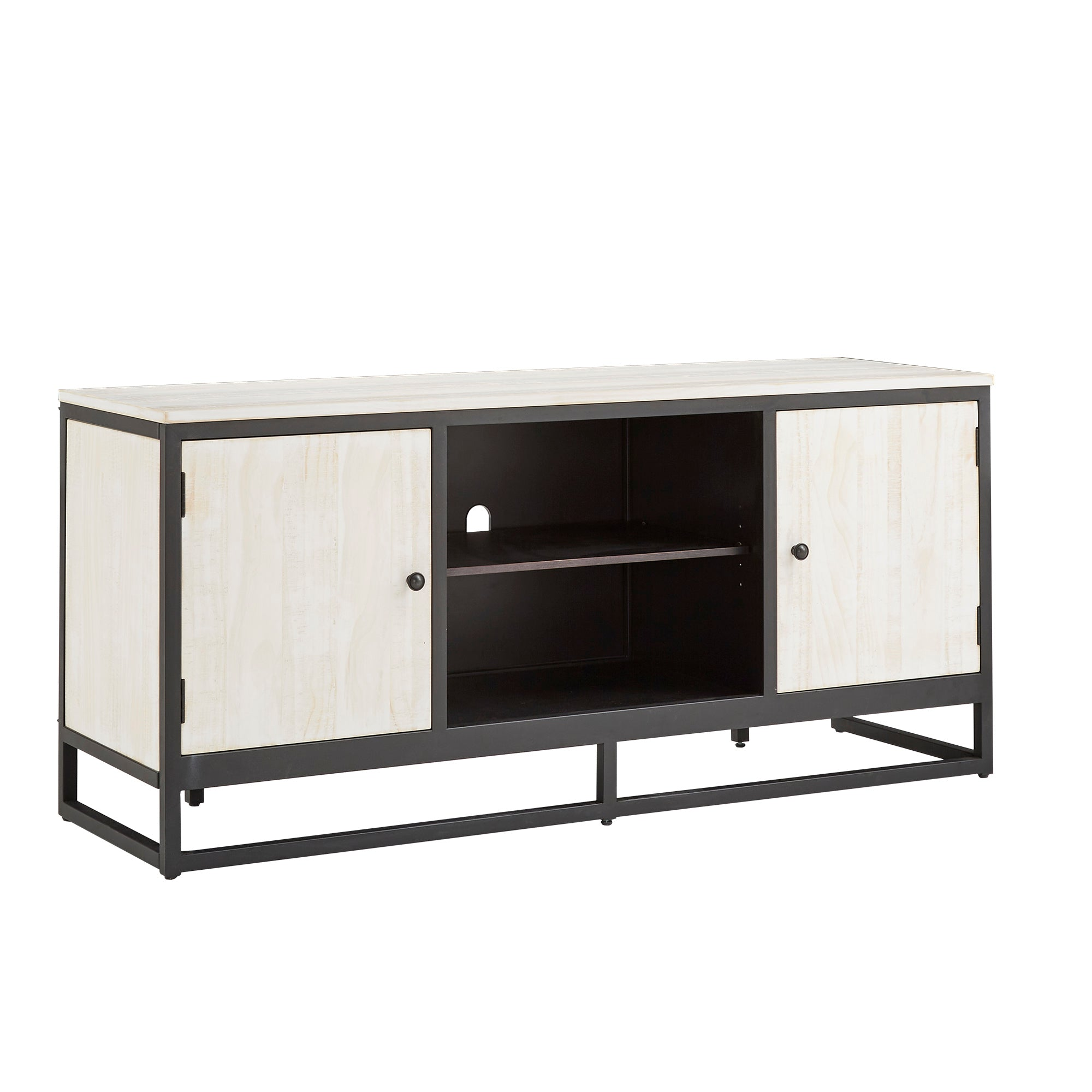 Distressed Finish Black Metal 58-inch TV Stand - Distressed Black Finish Black Metal 58-inch TV Stand