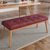Oak Angled Leg Linen Dining Bench - Tawny Port Red