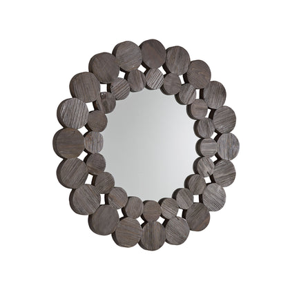 Dark Brown Reclaimed Wood Round Wall Mirror