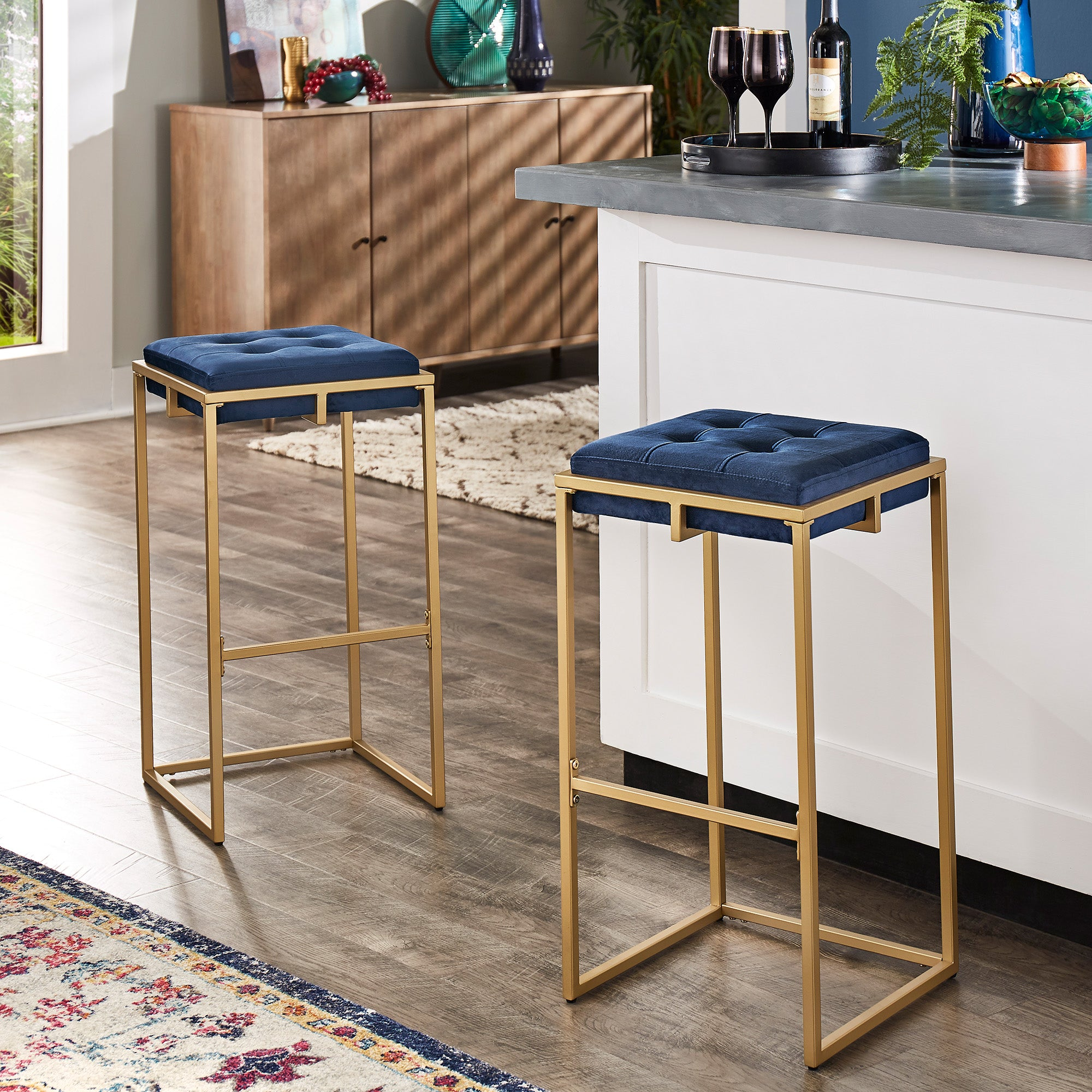Gold Finish Velvet Button Tufted Bar Stools (Set of 2) - Bar Height - Blue