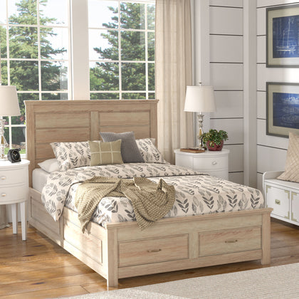 Wood Panel Platform Bed with Storage - Full Size - Oak Finish