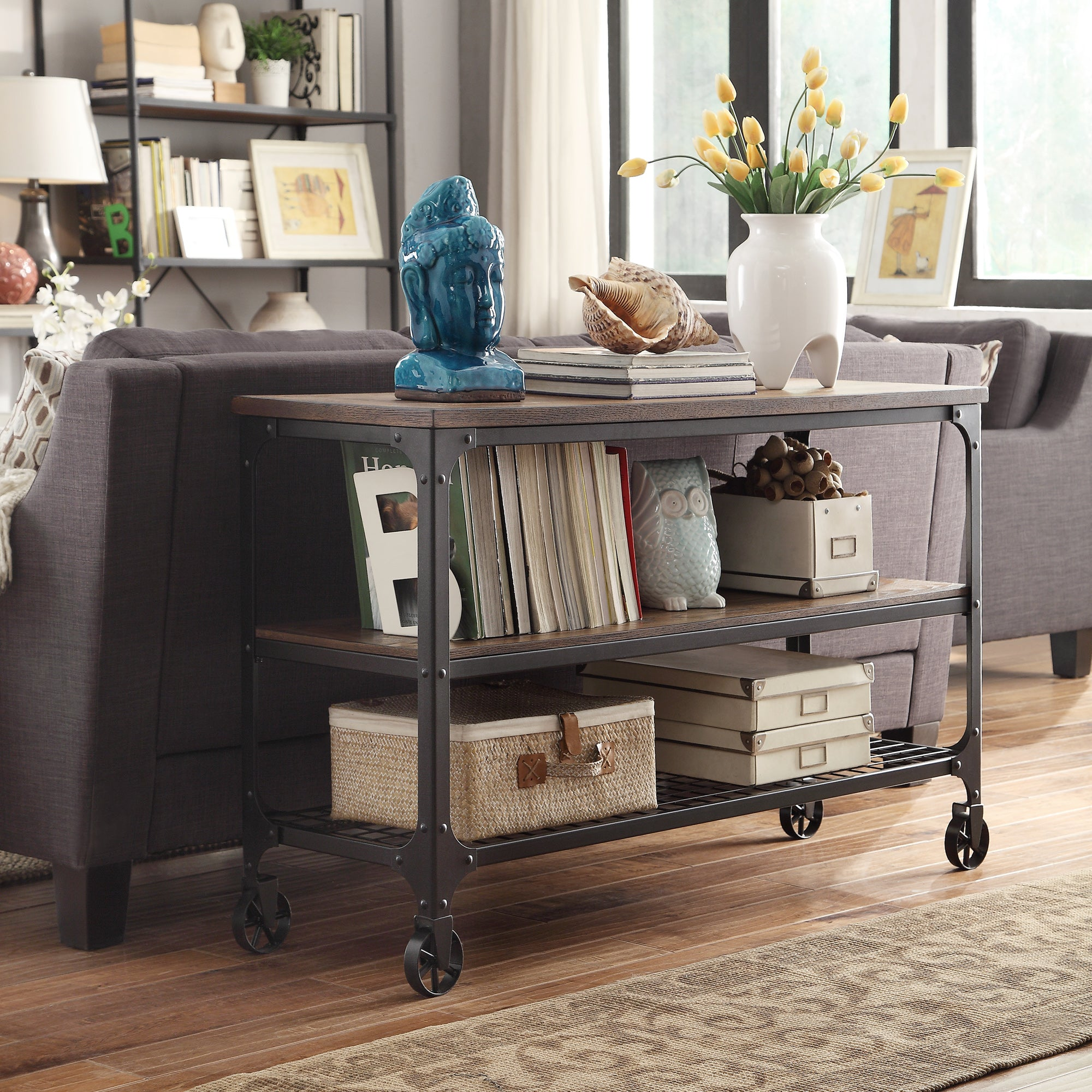 Industrial Modern Rustic TV Stand Console Table
