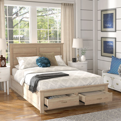 Wood Panel Platform Bed with Storage - Queen Size - Oak Finish