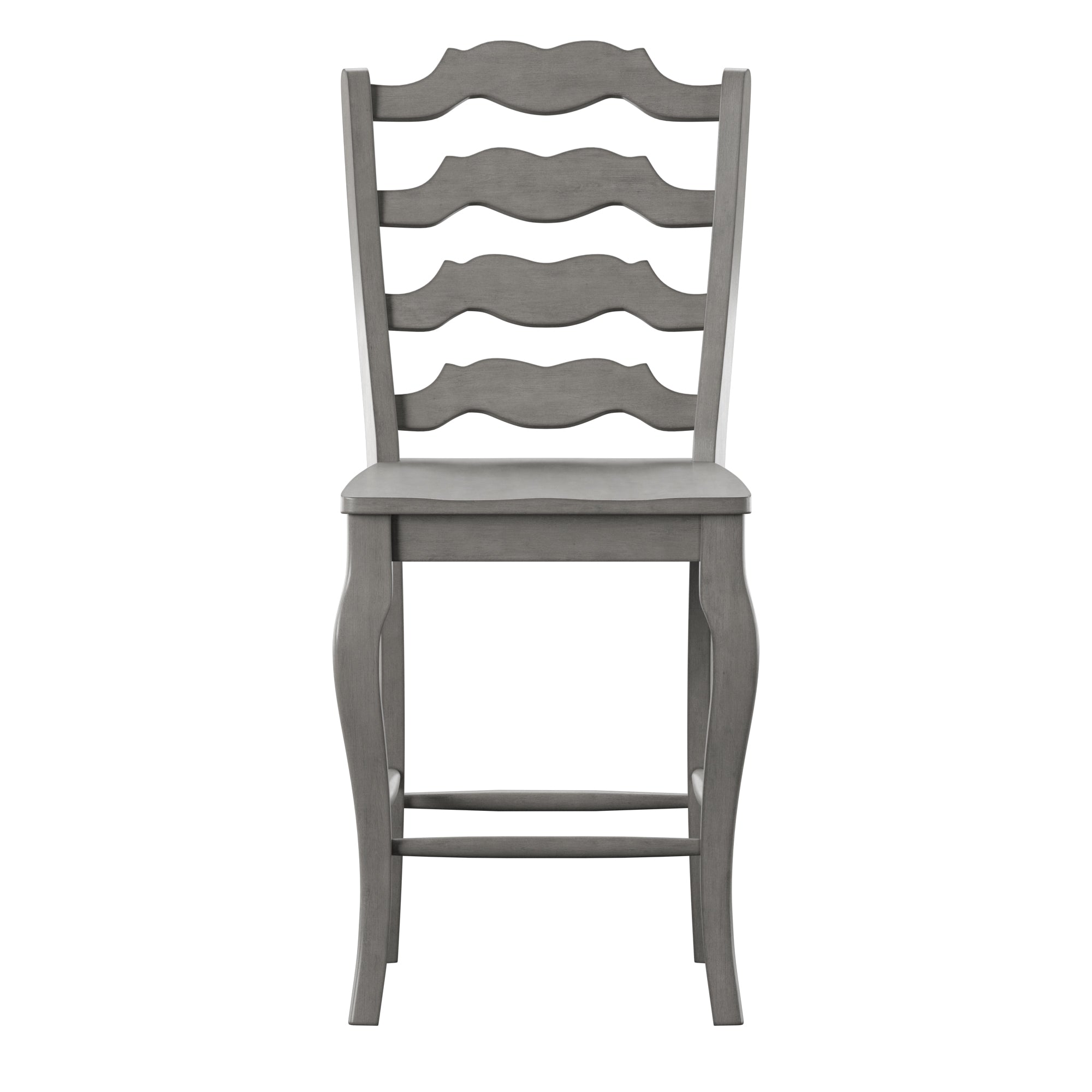 French Ladder Back Wood Counter Height Chair (Set of 2) - Antique Grey