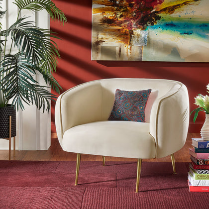 Brass Finish Velvet Upholstered Accent Chair - Beige Velvet