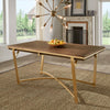 Natural Finish Gold Metal 72-inch Dining Table