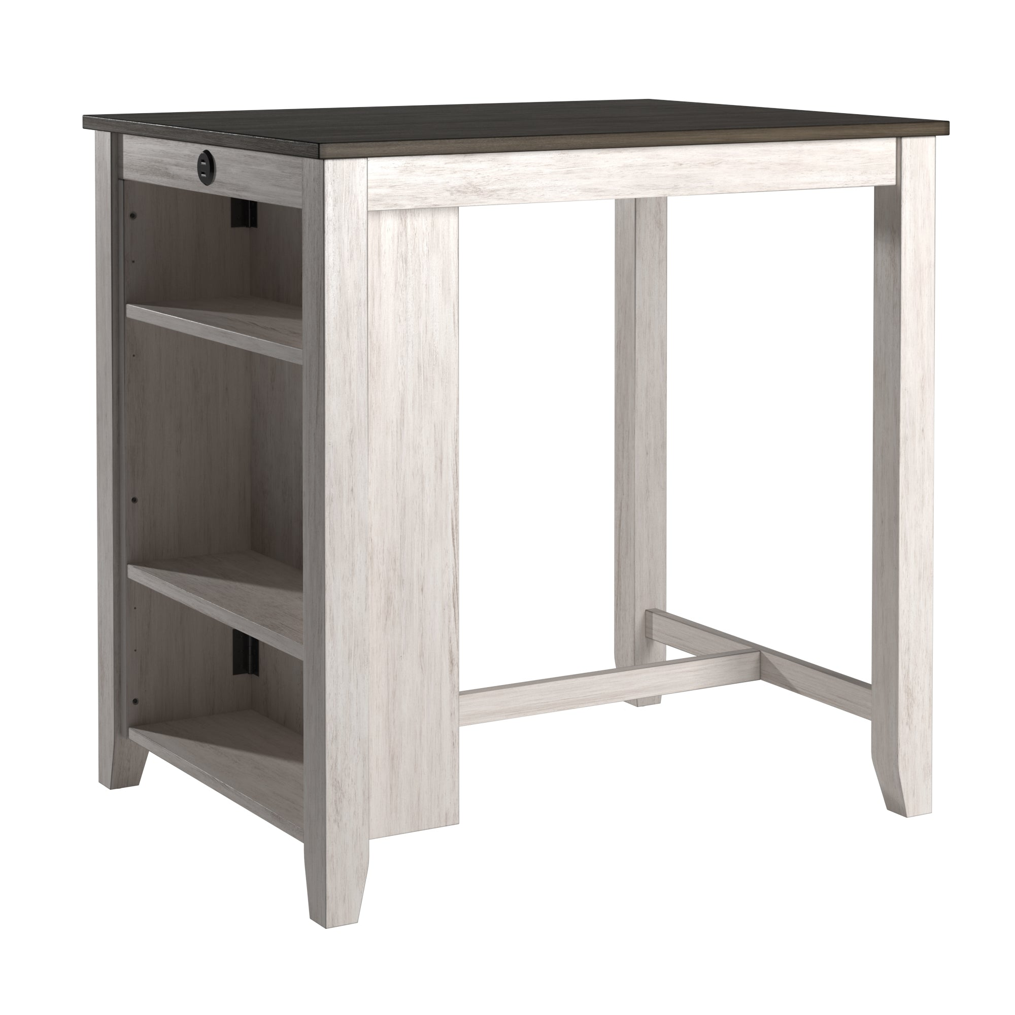 Wood Counter Height Dining Table with Charging Station - Dark Cherry Top and Two-Tone Grey & White Base Finish