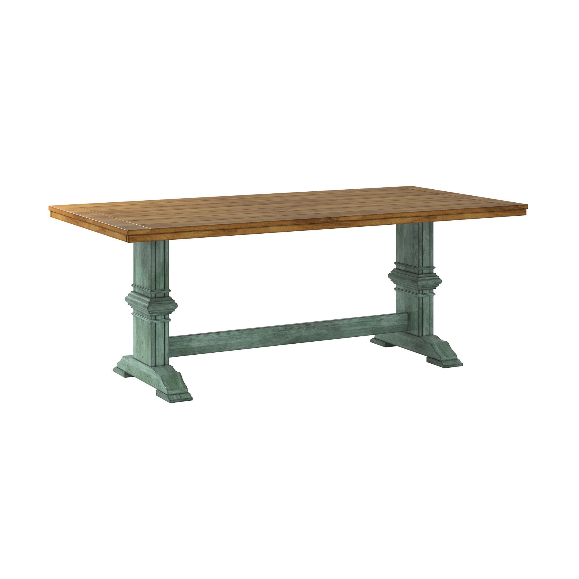 Two-Tone Rectangular Solid Wood Top Dining Table - Oak Top with Antique Sage Green Base