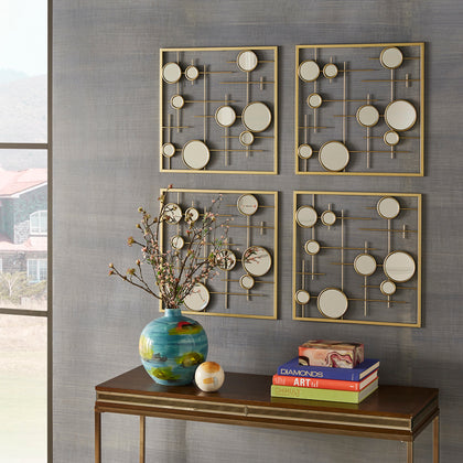 4-Piece Gold Square Wall Mirror with Bubbles