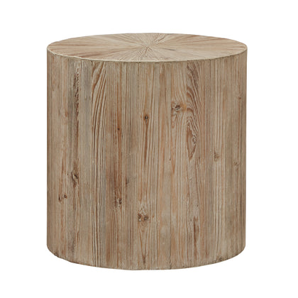 Distressed Reclaimed Wood Cylindrical Table - End Table