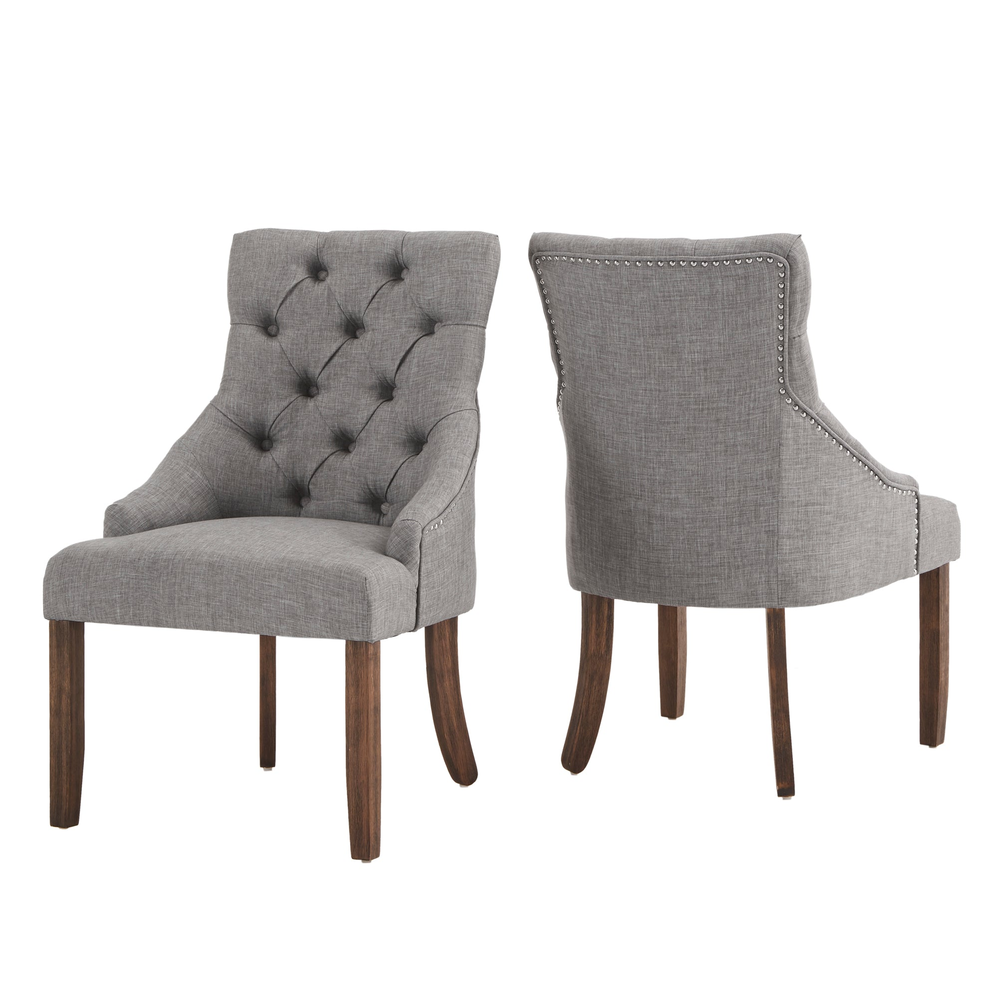 Light Grey Linen Curved Back Tufted Dining Chair (Set of Two)