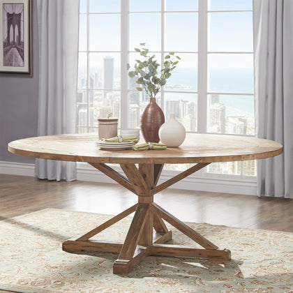 Rustic X-Base Round Pine Wood Dining Table - Pine Finish, 72-inch