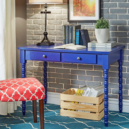 2-drawer Helix Legs Office Desk - Twilight Blue