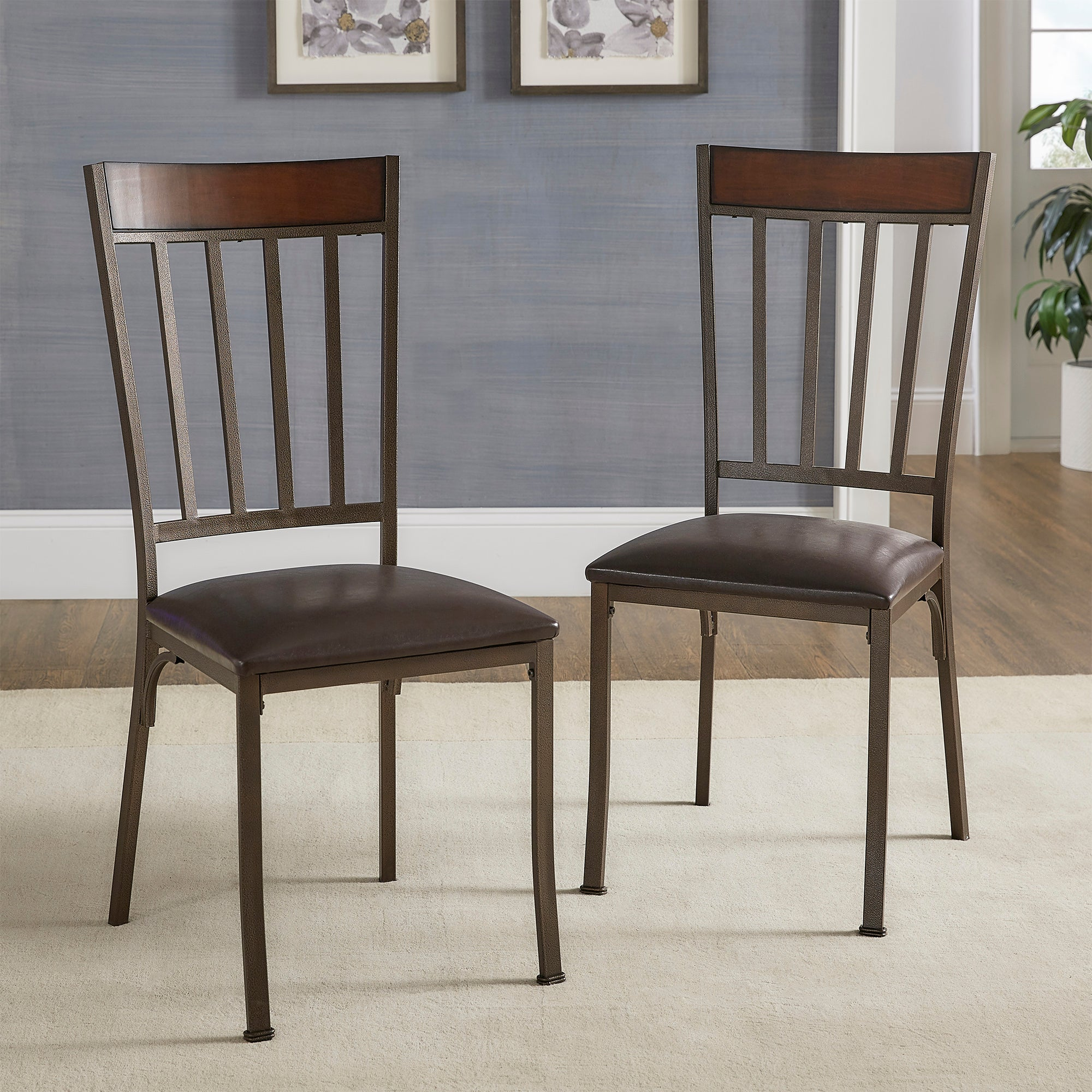 Antique Bronze Finish Dining Chairs (Set of 2)