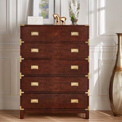 5-Drawer Gold Accent Campaign Chest - Espresso