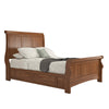 Wood Sleigh Platform Bed - Oak Color Finish Queen Size