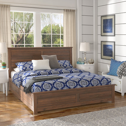 Wood Panel Platform Bed with Storage - King Size - Walnut Finish
