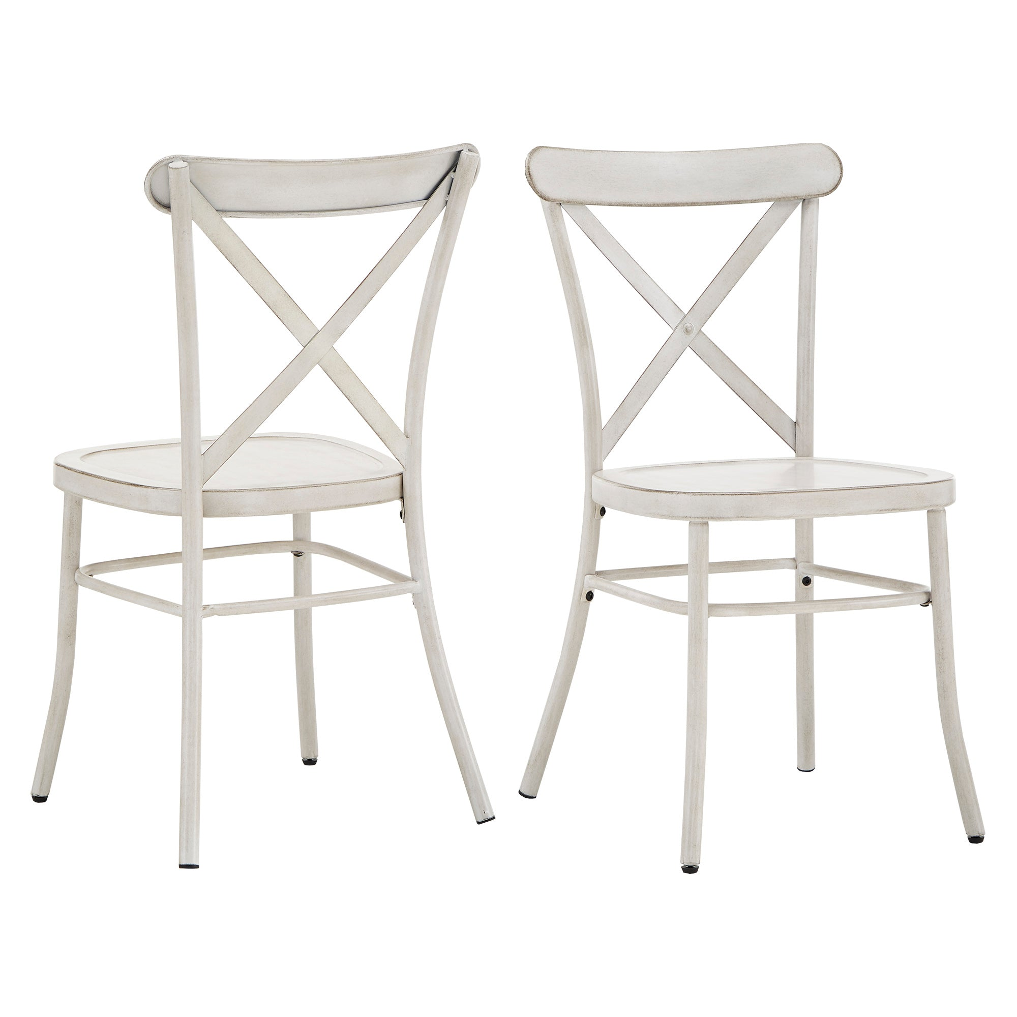 Metal Dining Chair (Set of 2) - Antique White Finish