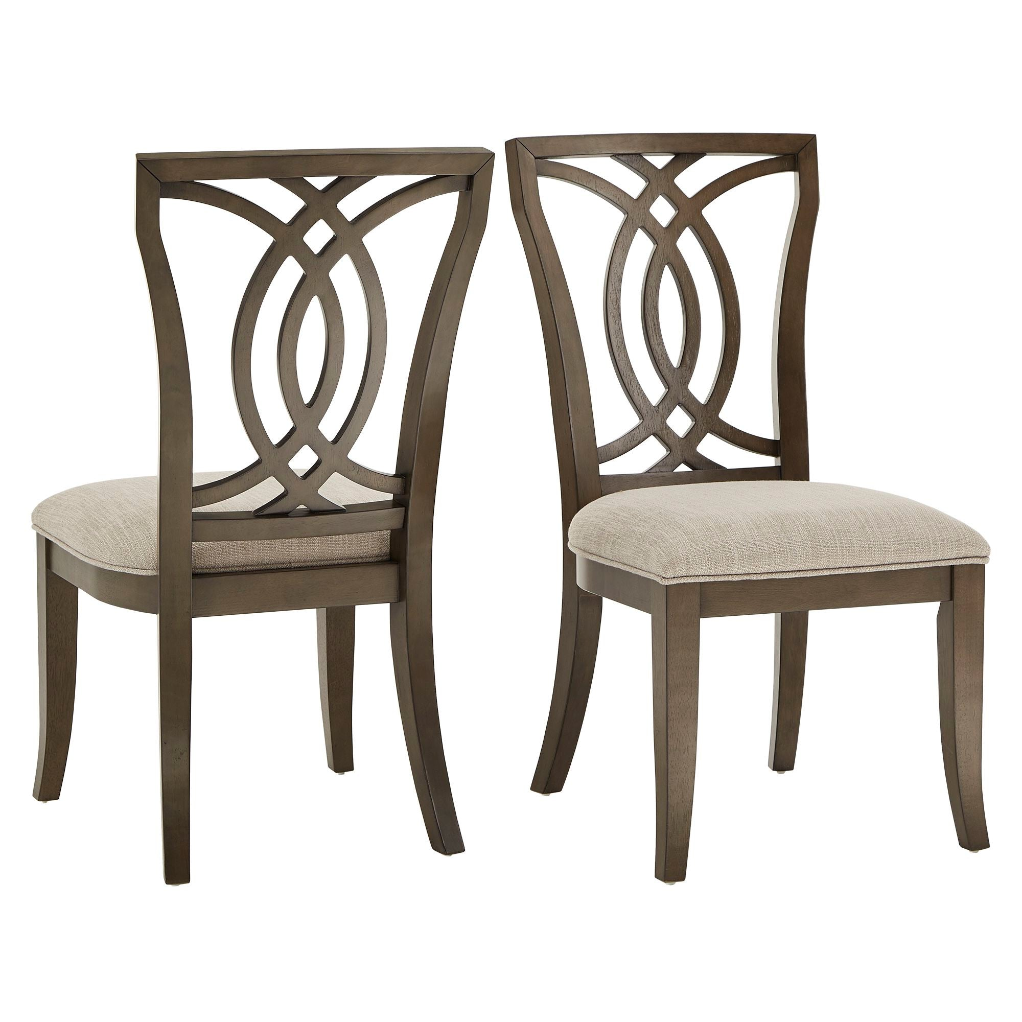 Dark Walnut Finish, Beige Fabric Upholstery, Side Chair (Set of Two) - Side Chair